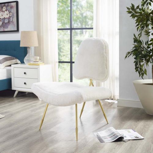 Ponder Upholstered Sheepskin Fur Lounge Chair in White