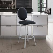 """View Product - Pia Contemporary 30"""" Bar Height Barstool in Brushed Stainless Steel Finish and Black Faux Leather"""