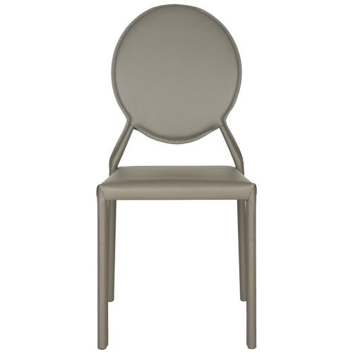 Warner 37''h Round Back Leather Side Chair - Grey