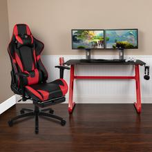 Red Gaming Desk and Red/Black Footrest Reclining Gaming Chair Set with Cup Holder and Headphone Hook