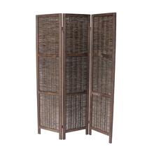 7040 DARK BROWN Rustic Woven 3-Panel Room Divider