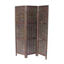 See Details - 7040 DARK BROWN Rustic Woven 3-Panel Room Divider