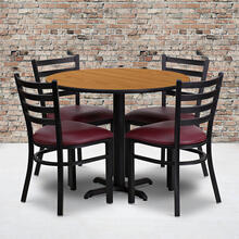 36'' Round Natural Laminate Table Set with X-Base and 4 Ladder Back Metal Chairs - Burgundy Vinyl Seat