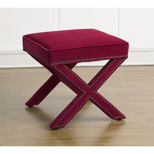 Tov Furniture - Reese Pink Velvet Ottoman