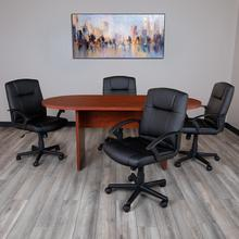 See Details - 5 Piece Cherry Oval Conference Table Set with 4 Black LeatherSoft-Padded Task Chairs