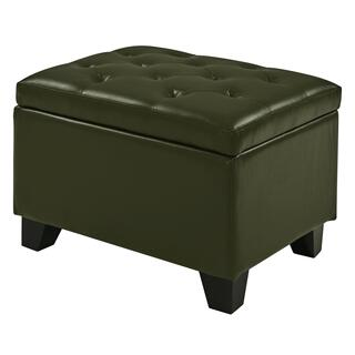 Julian Rectangular Bonded Leather Storage Ottoman, Asparagus