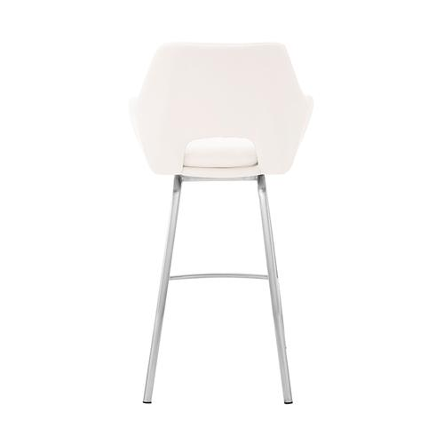 """Armen Living - Aura White Faux Leather and Brushed Stainless Steel Swivel 26"""" Counter Stool"""