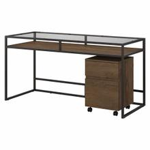 See Details - 60W Glass Top Writing Desk with 2 Drawer Mobile File Cabinet, Rustic Brown Embossed