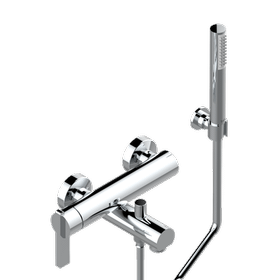 Wall mounted 2-hole bath shower single lever mixer with hook, hose and handshower