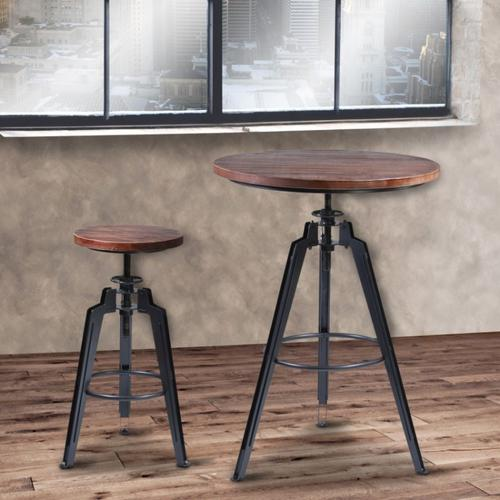Armen Living Tribeca Adjustable Barstool in Industrial Gray finish with Pine Wood seat