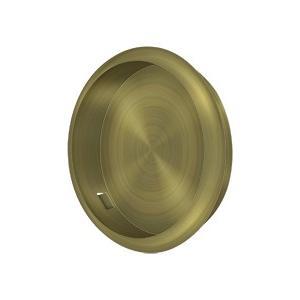 """Deltana - Flush Pull, Round, 2-1/2"""" Diam. - Antique Brass"""