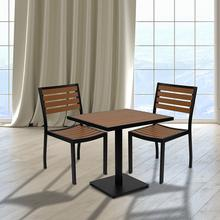 See Details - Outdoor Patio Bistro Dining Table Set with 2 Chairs and Faux Teak Poly Slats