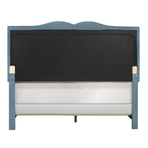 Product Image - Glam Shaped Double Nailhead Trim Full Upholstered Bed in Classic Blue