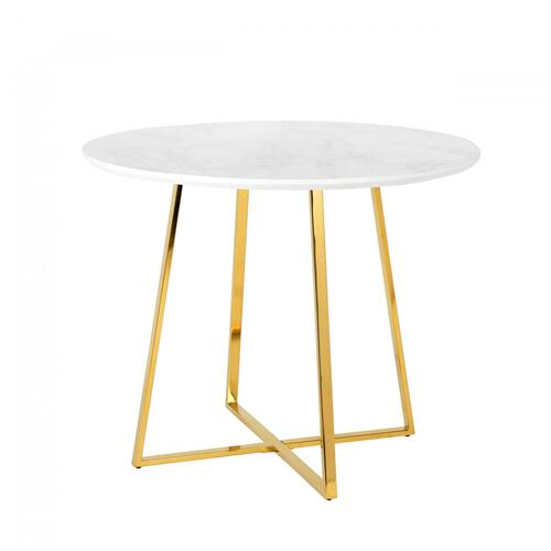 Modrest Swain Modern Faux Marble & Gold Round Dining Table