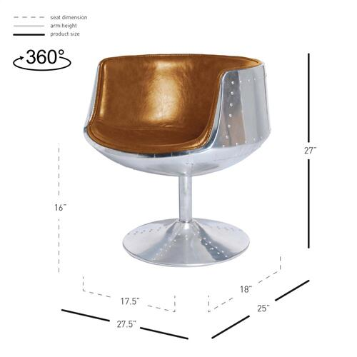 New Pacific Direct - Conan PU Swivel Accent Arm Chair Aluminum Frame, Distressed Caramel
