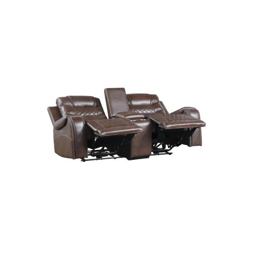 Power Double Reclining Love Seat with Center Console, Receptacles and USB port