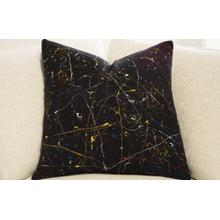 Hand Painted Pillow - Pollock on Black Linen