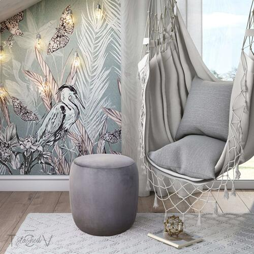 Tov Furniture - Willow Grey Velvet Ottoman