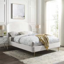 Mira Upholstered Performance Velvet Queen Platform Bed in White