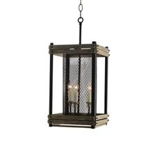 3-Light Lantern in Rustic Walnut Finish