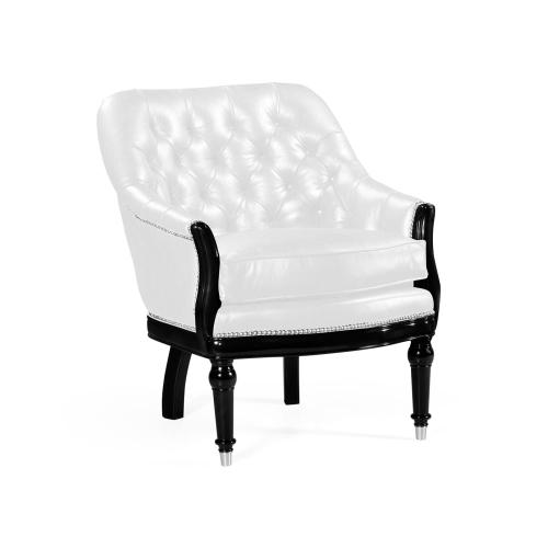 Black Painted Club Chair, Upholstered in COM