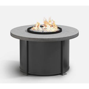 "42"" Round Chat Fire Pit Ht: 24.5"" Valero Aluminum Base (Top Color: Drift Frame Finish: Carbon)"