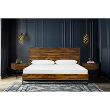 Cusco 3 Piece Acacia King Bed and Nightstands Bedroom Set