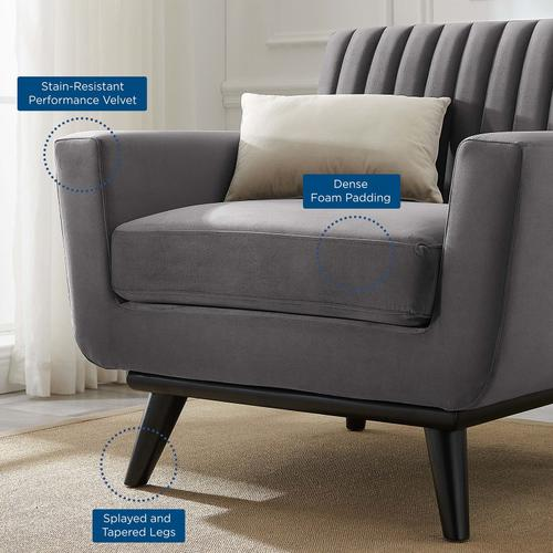 Modway - Engage Channel Tufted Performance Velvet Armchair in Gray