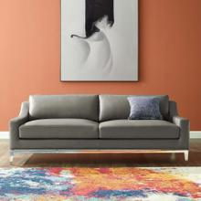 """Harness 83.5"""" Stainless Steel Base Leather Sofa in Gray"""