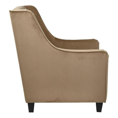 Curves Tufted Back Armchair With Coffee Velvet Easy-care Fabric & Solid Wood Espresso Finish Legs