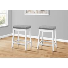 """See Details - BARSTOOL - 2PCS / 24""""H / GREY LEATHER-LOOK / WHITE"""
