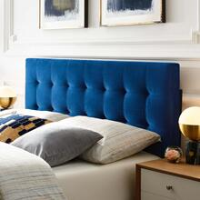 Lily Queen Biscuit Tufted Performance Velvet Headboard in Navy