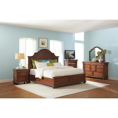 Windward Bay - Queen Low Storage Footboard - Warm Rum Finish