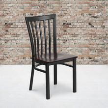 Black School House Back Metal Restaurant Chair with Walnut Wood Seat