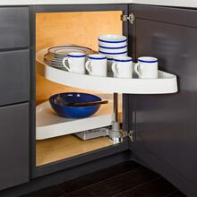 "35"" Half-Moon Lazy Susan Set with White Plastic Trays. For a 15"" Cabinet Opening. Shelves Pivot and Pull Out of the Cabinet Independently. Shipped in Left-hand Configuration but Universal Design. Positive Stop Prevents Trays from Hitting the Back of the Cabinet and Door. White Plastic Trays with Chrome Pole and Hubs"