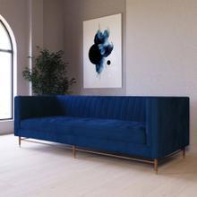 Divani Casa Miramar - Modern Blue Velvet Sofa