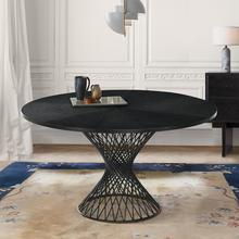 "Cirque 54"" Round Black Wood and Metal Pedestal Dining Table"