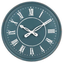 Blue Wall Clock with Ornate Hands