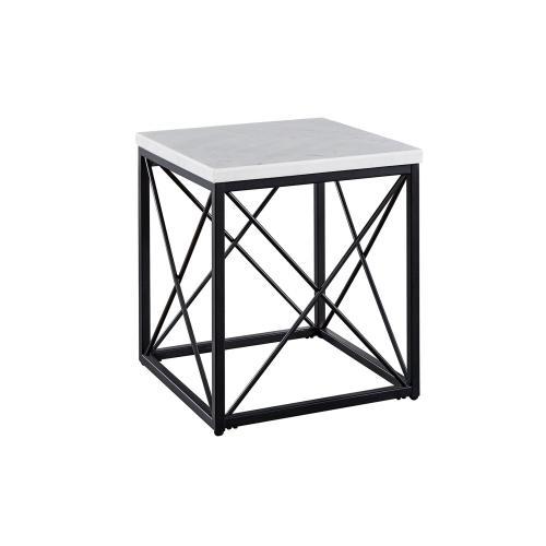 Skyler White Marble End Table
