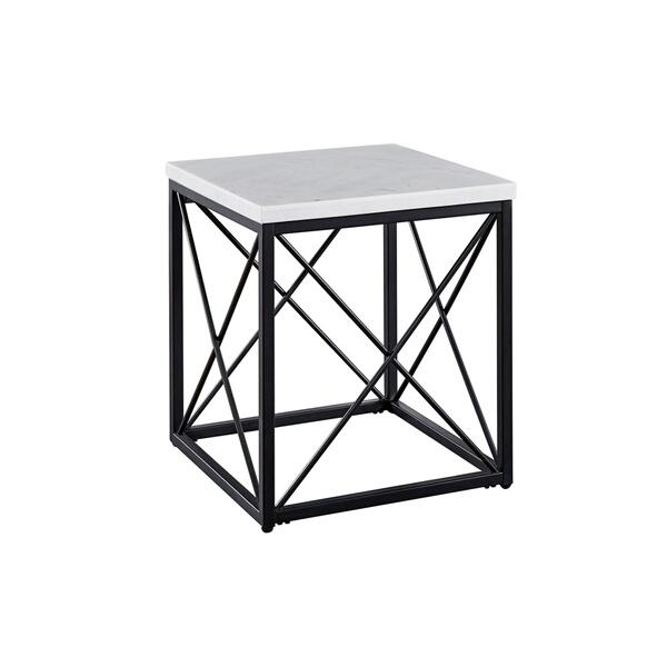See Details - Skyler White Marble End Table