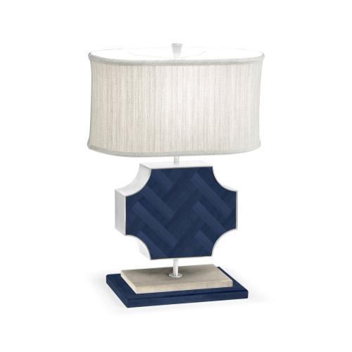 Curved Wide Cross Antique Blue Oak Table Lamp