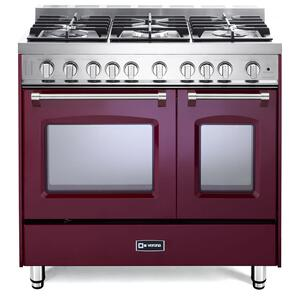 "VeronaBurgundy 36"" Gas Double Oven Range - Prestige Series"