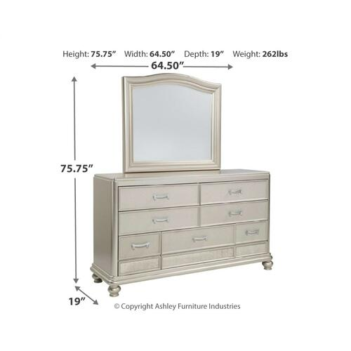 Queen Upholstered Bed With Mirrored Dresser