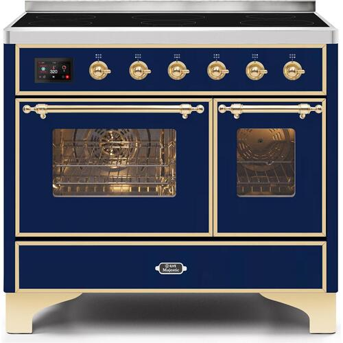 Majestic II 40 Inch Electric Freestanding Range in Blue with Brass Trim