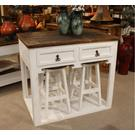White Kitchen Island W/4 Stools Product Image