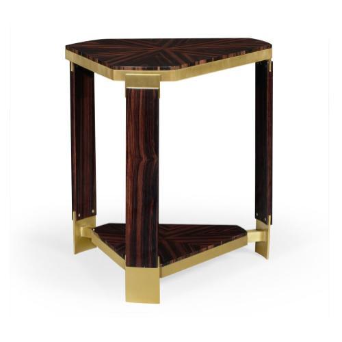 Triangular Dark Macassar Ebony Side Table
