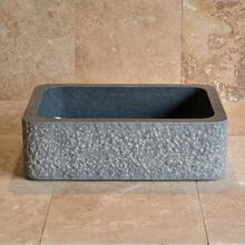 See Details - Farmhouse Sink With Chiseled Apron, 8 Inch Depth Blue Gray Granite