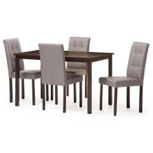 See Details - Baxton Studio Andrew Modern and Contemporary 5-Piece Grey Fabric Upholstered Grid-tufting Dining Set