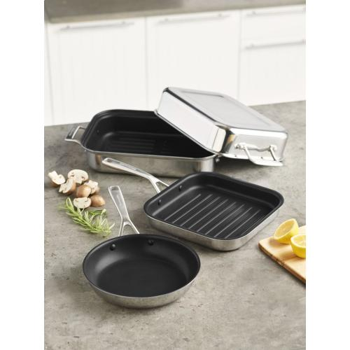 "Tri-Ply Stainless Steel 8"" Nonstick Skillet - Stainless Steel Finish"