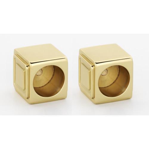 Cube Shower Rod Brackets A6546 - Unlacquered Brass